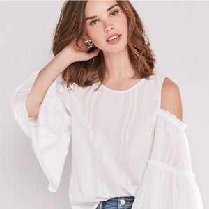 Lucky Brand White Cold Shoulder Bell Sleeve Top S